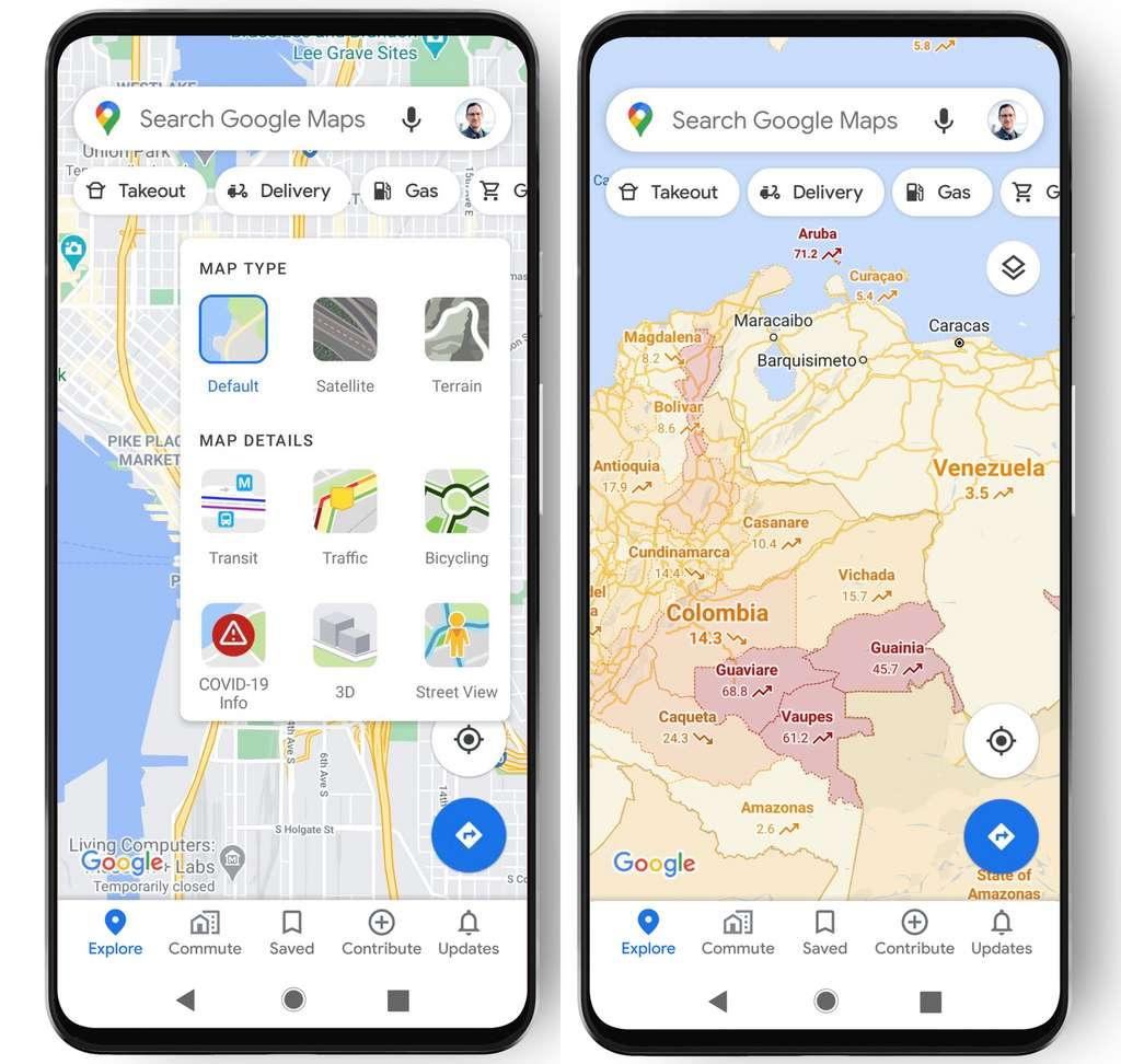 Le nombre de cas de Covid-19 sera désormais directement affiché dans Google Maps pour chaque région. © Google