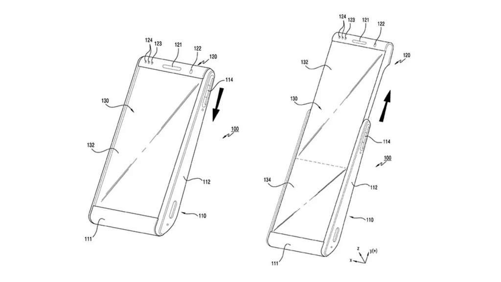 Le projet de smartphone imaginé par Samsung permettrait d'augmenter la surface de l'écran de 60 %. © Samsung