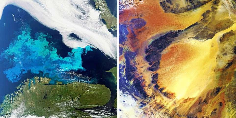 La mer de Barents et la côte norvégienne, et, à droite, le désert Sahara, côté libyen, vus par l'instrument Meris d'Envisat. © Esa/Meris Science team