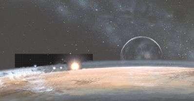 L'instrument Rex observe l'atmosphère ténue de Pluton en recevant des signaux radio terrestres (vue d'artiste). © Jean Etienne