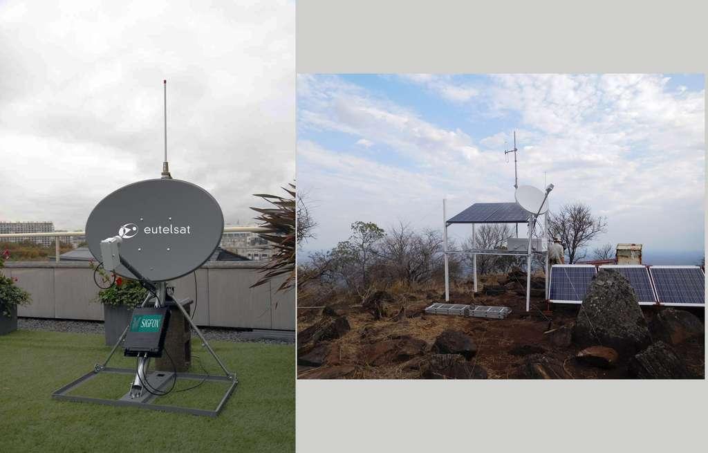 Exemple d'installation hybride entre le SmartLNB d'Eutelsat et le réseau Sigfox. © Eutelsat, Sigfox Foundation