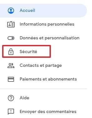 Cliquez sur « Sécurité ». © Google Inc.