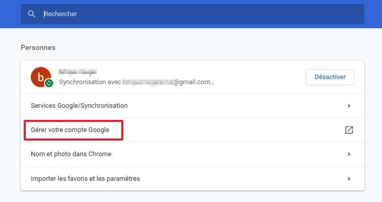 Cliquez sur « Gérer votre compte Google ». © Google Inc.