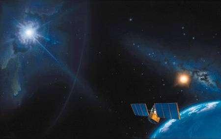 Vue d'artiste d'un sursaut gamma cosmologique observé par un satellite. Crédit: A.J. Kamajian