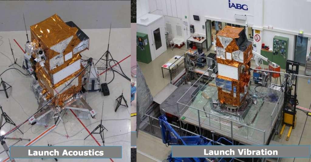 Le satellite Sentinel 2 a subi des essais acoustiques et de vibrations chez IABG pour s'assurer qu'il résistera aux contraintes du lancement. © Airbus DS, IABG