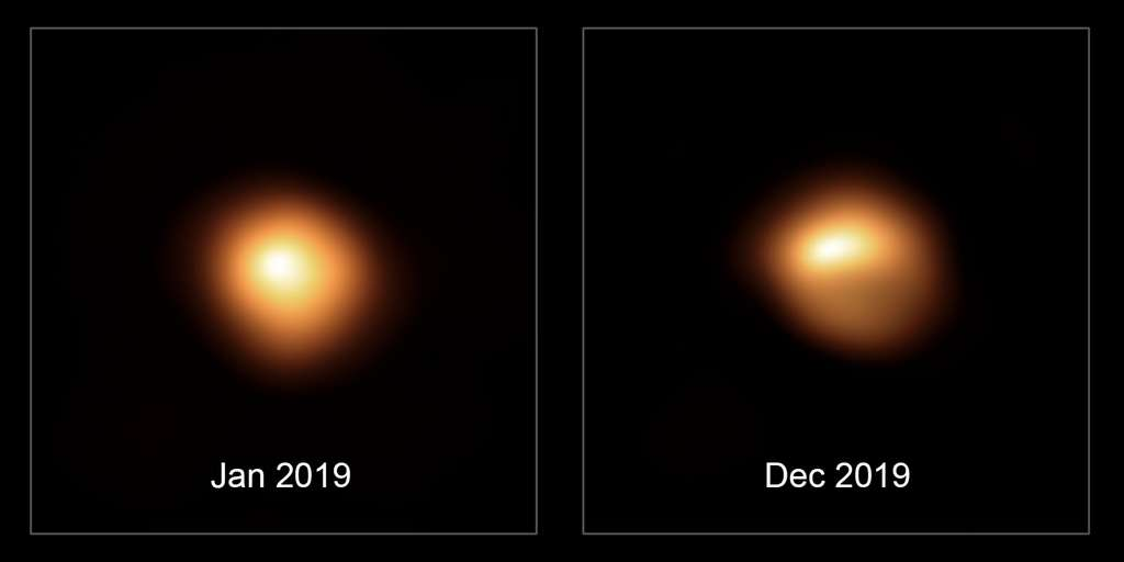 Ce comparatif montre l'étoile Bételgeuse avant, et après qu'elle a subi cette perte de luminosité sans précédent. Les observations, acquises en janvier et décembre 2019 au moyen de l'instrument Sphere qui équipe le Very Large Telescope de l'ESO, témoignent de la baisse de luminosité de l'étoile et de ses changements de forme. © ESO/M. Montargès et al.