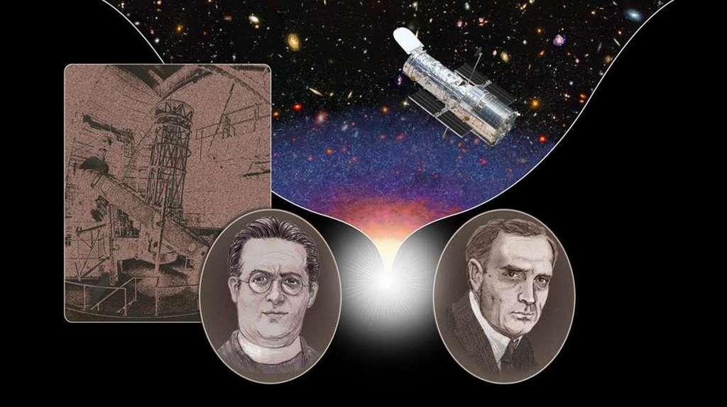 Cette illustration montre, de droite à gauche, Edwin Hubble (1889-1953) et Georges Lemaître (1894-1966). Le télescope Hooker du mont Wilson, en Californie, à gauche, le télescope spatial Hubble à droite. © Nasa, Esa, A. Feild