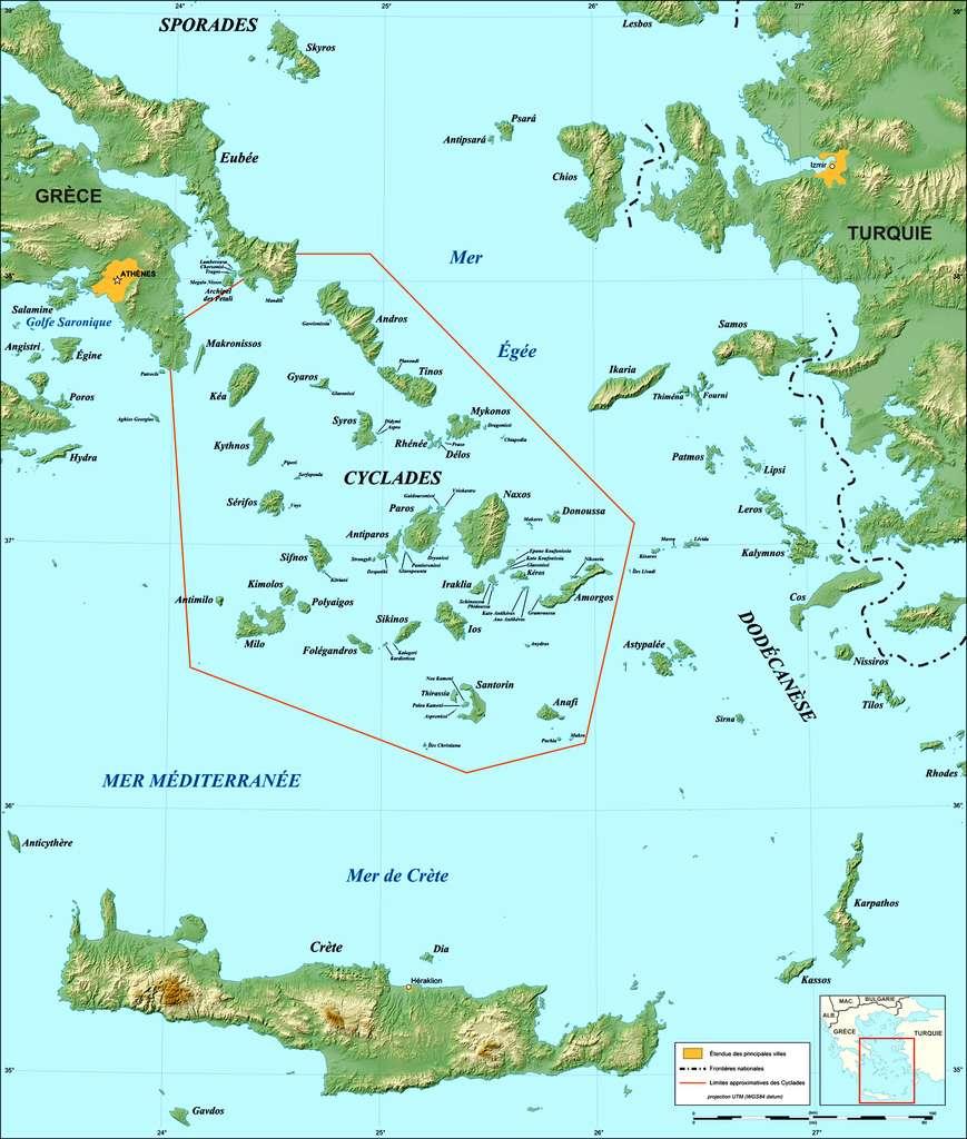 Carte des Cyclades. © Gaba, cc by nc 3.0