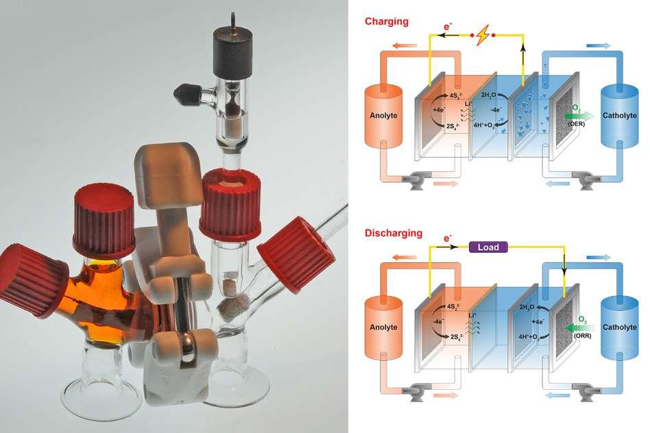 Lors de la décharge (en bas), des électrons sont libérés par l'anode liquide (anolyte). Parallèlement, la cathode, liquide elle aussi (catholyte), inspire de l'oxygène et produit des ions hydroxydes (HO- ) assurant l'électroneutralité de l'ensemble. Pendant la charge (en haut), de l'oxygène est expulsé de la cathode. Des ions hydrogène (H+) apparaissent. Les électrons sont repoussés vers l'anode. © Felice Frankel, Massachusetts Institute of Technology