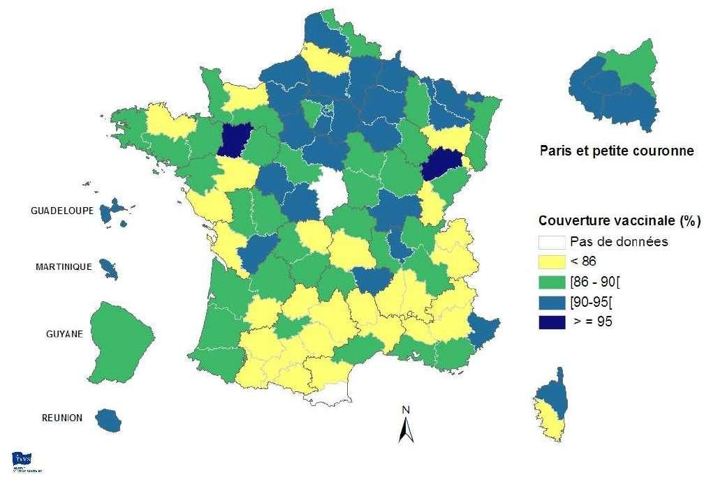 Distribution par département des couvertures vaccinales RRO (rougeole-rubéole-oreillons) à l'âge de 2 ans (donnée la plus récente entre 2003 et 2008). On note une répartition inégale avec, globalement, moins de vaccinations dans le sud de la France. (Source : certificats de santé du 24e mois, Drees, InVS.) © INVS