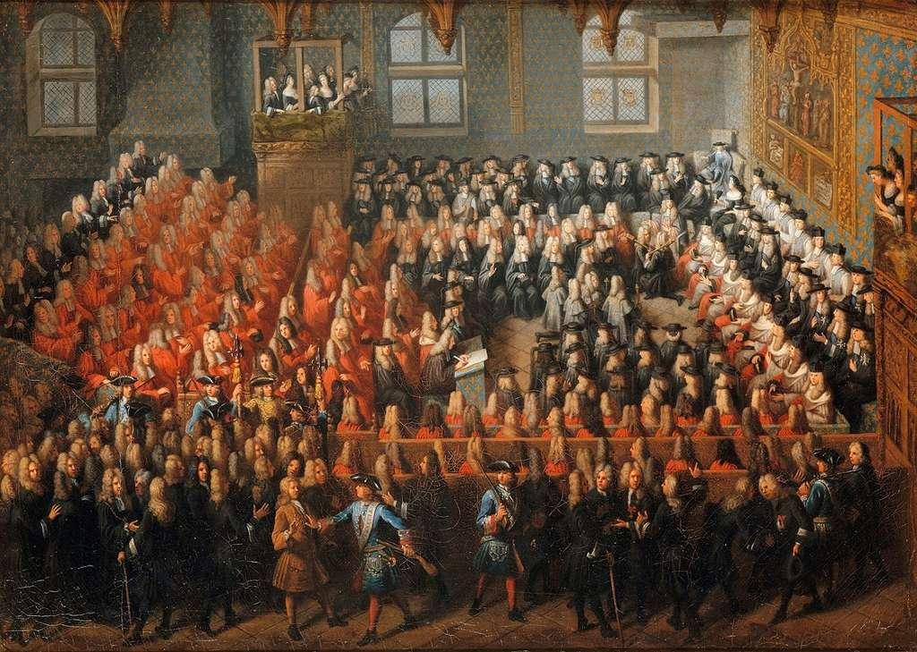 Lit de justice tenu par le jeune roi Louis XV (cinq ans) après la mort de Louis XIV en septembre 1715, par Louis-Michel Dumesnil. © Château de Versailles, Wikimedia Commons, domaine public