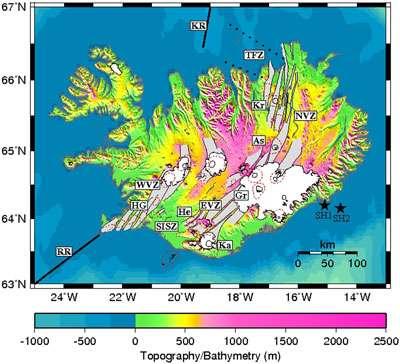 Représentation des différents volcans islandais. © DR