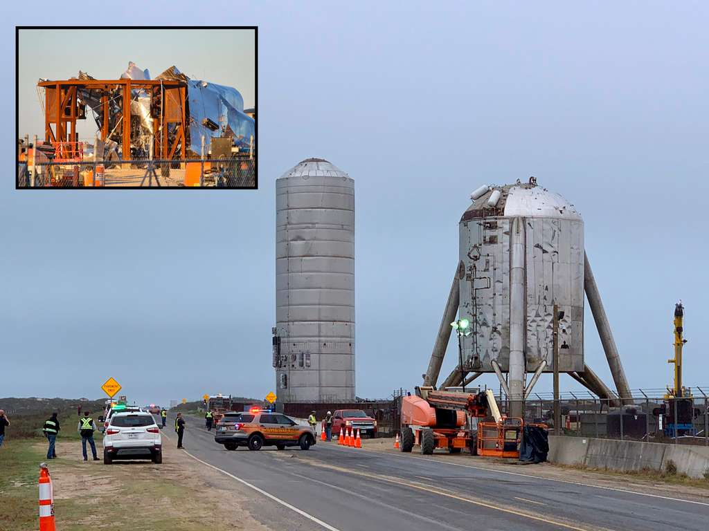Sur le site de Boca Chica au Texas, au premier plan le Starhopper et en arrière le plan le prototype SN1 du Starship, aujourd'hui détruit. © South Padre Island (http://spadre.com)