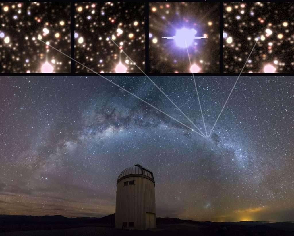 V1213 Centauri est une étoile variable de la Voie lactée, comme on peut le voir sur l'image principale. En surveillant ses variations de luminosité, des astronomes ont pu retracer son évolution avant et après qu'elle ne devienne une nova (images du haut). © J. Skowron, K. Ulaczyk, Warsaw University Observatory