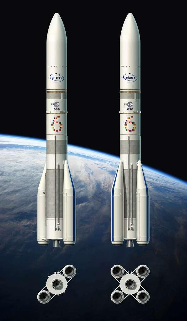 Les deux versions d'Ariane 6. Celle à deux boosters, la 62, destinée aux satellites institutionnels et gouvernementaux, puis celle à quatre boosters destinée à l'orbite géostationnaire et ses satellites commerciaux ouverts à la concurrence. © ESA, D. Ducros