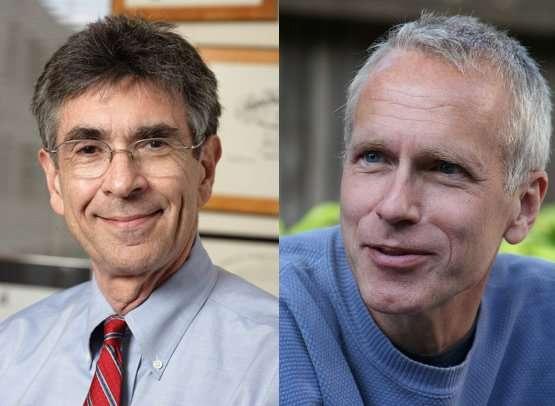 De gauche à droite, Robert Lefkowitz et Brian Kobilka, récompensés par le prix Nobel de chimie 2012. © Comité Nobel (Robert Lefkowitz) et Charles, sous licence Commons (Brian Kobilka)