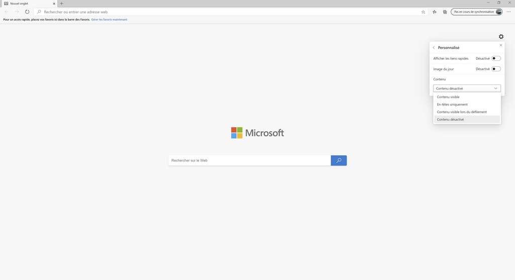 Création d'une page d'accueil minimaliste personnalisée. © Microsoft