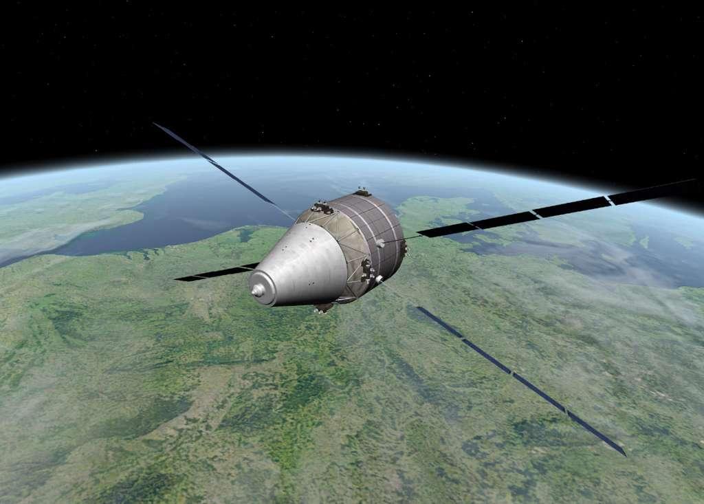 Vue d'artiste d'une évolution possible de l'ATV en ARV avec une capsule récupérable. Cet engin utilisera le module de service de l'ATV. Le conteneur de fret de l'ATV étant remplacé par un module de rentrée servant à ramener sur Terre en toute sécurité des charges utiles et des expériences. © Astrium