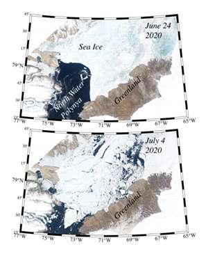 Sur ces images, l'arche de glace qui s'est formée au sud du détroit de Nares en 2020. En haut, l'arche retient la glace de mer. En bas, la glace s'écoule vers le sud après l'effondrement de l'arche. © ESA