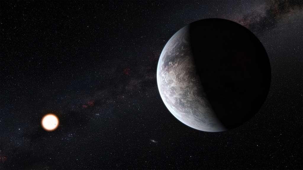 Vue d'artiste d'une exoplanète tellurique à proximité de son étoile. @ ESO/M. Kornmesser