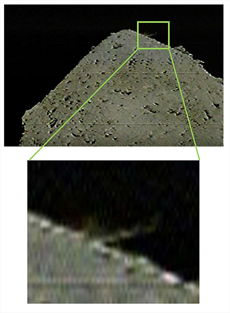 Sur Ryugu, le jet de matière éjectée trois à quatre secondes après l'impact. Cette image a été acquise avec la caméra analogique basse résolution DCAM3. © Jaxa, Kobe University, Chiba Institute of Technology, The University of Occupational and Environmental Health, Kochi University, Aichi Toho University, The University of Aizu, and Tokyo University of Science