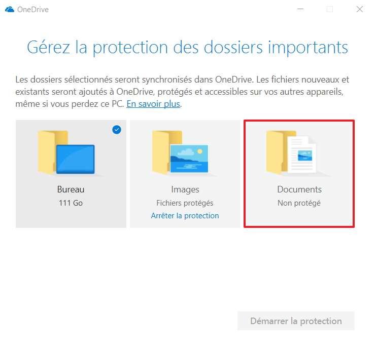 Désormais, le dossier « Documents » n'est plus protégé. © Microsoft