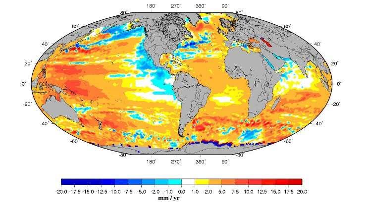 Carte de la distribution géographique des vitesses de variation du niveau de la mer (1993-2007). © Legos, d'après Topex/Poseidon et Jason-1