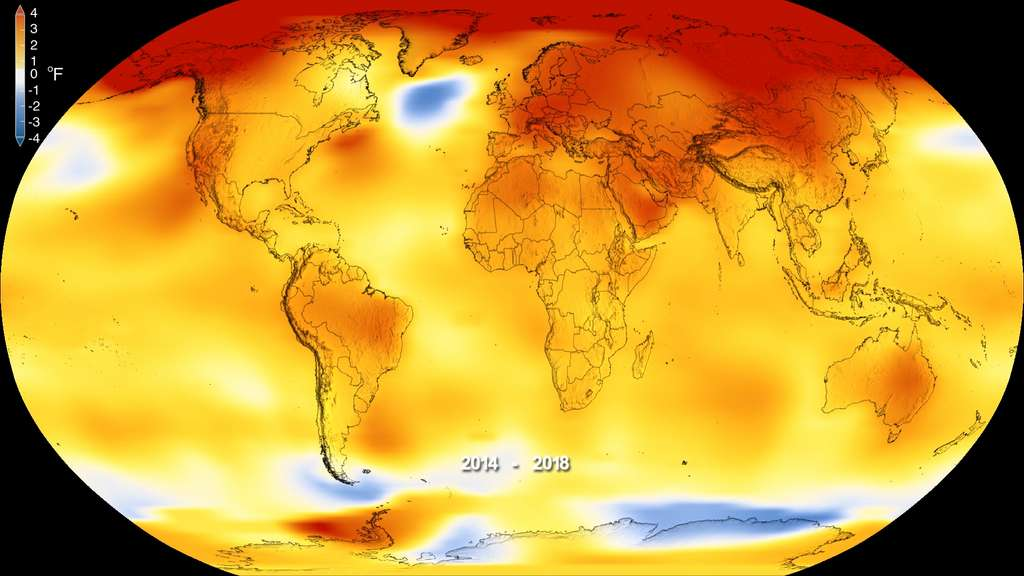 Anomalies des températures pour la période 2014-2018. Les températures sont indiquées ici en degrés Fahrenheit. Plus les zones sont rouges, plus l'anomalie est forte. © Nasa