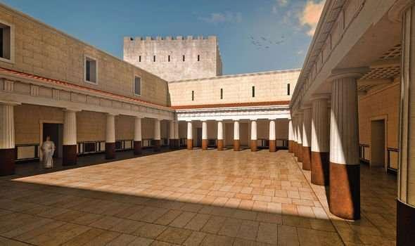 Une reconstitution de la cour du palais d'Hérode Antipas, à Macheronte. © Győző Vörös