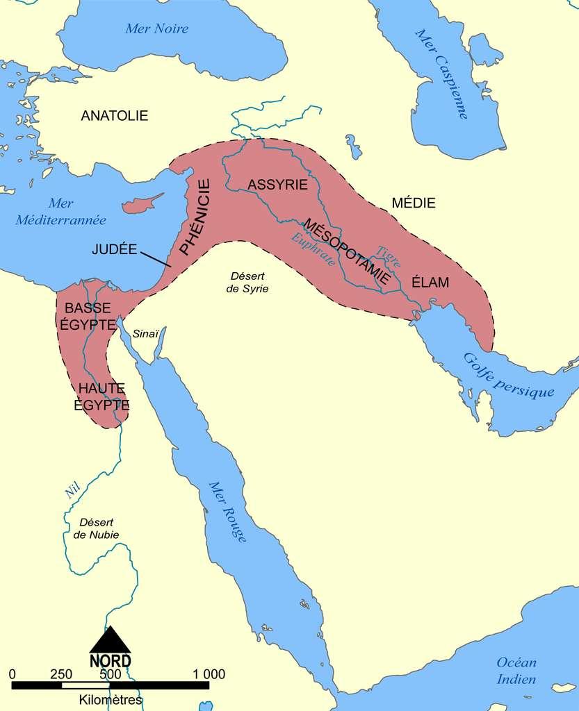 La Mésopotamie est une région antique du Moyen-Orient localisée entre les deux fleuves d'Asie : le Tigre et l'Euphrate. Elle correspond, de nos jours, à l'Irak. Cette civilisation utilisait le calendrier lunisolaire. © Sting, Wikipédia