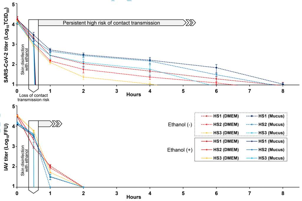 Le graphique du haut représente la survie du SARS-CoV-2 sur les échantillons de peau (HS1, 2 et 3) et le graphique du bas celle du H1N1, un virus influenza du groupe A. L'encadré indique l'application de la solution d'éthanol à 80 % 30 minutes après le début de l'expérience. Les titres viraux deviennent nuls juste après. © Ryohei Hirose et al., Clinical Infectious Disease