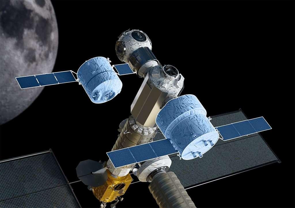 Concept de croiseur lunaire pour desservir l'orbite basse, le Gateway ou la Lune. © Airbus