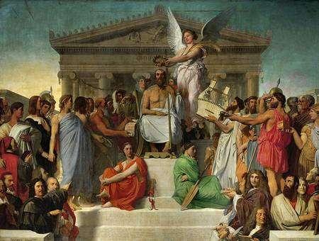 Cliquez pour agrandir. L'Apothéose d'Homère peinte par Ingres, 3,86m x 5,15m, 1827, Paris, Musée du Louvre © Erich Lessing