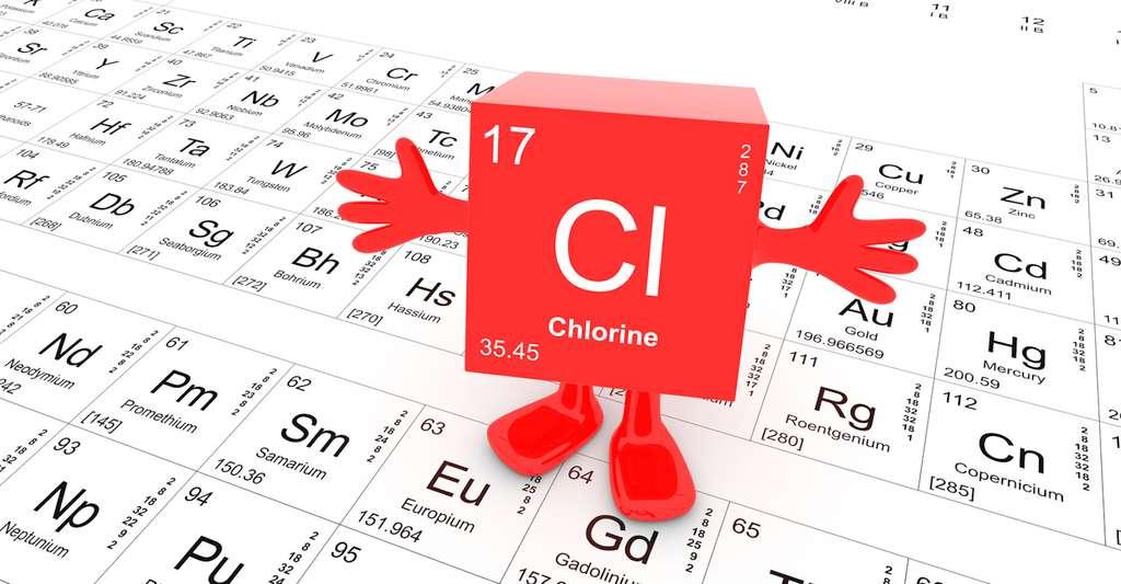 Le chlore – chlorine, en anglais – est un élément chimique largement employé pour la purification de l'eau, mais qui lui donne une odeur désagréable. © concept w, Fotolia