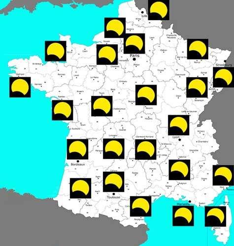 Fig. 2 : Représentation du milieu de l'éclipse pour 23 villes de France métropolitaine. Pour chaque image, la direction du zénith est en haut, © : Philippe Morel, SAF - Reproduction et utilisation interdites.