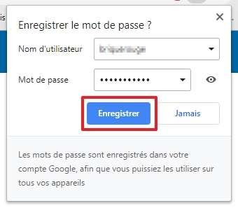 Une demande d'enregistrement de mot de passe a lieu chaque fois que vous vous connectez à un compte sur un site web ouvert dans Chrome. © Google Inc.