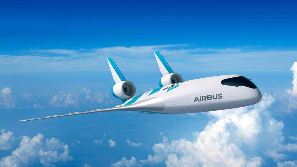Concept d'aile volante Maveric d'Airbus. De par son architecture, cet avion pourrait voler à l'hydrogène. © Airbus