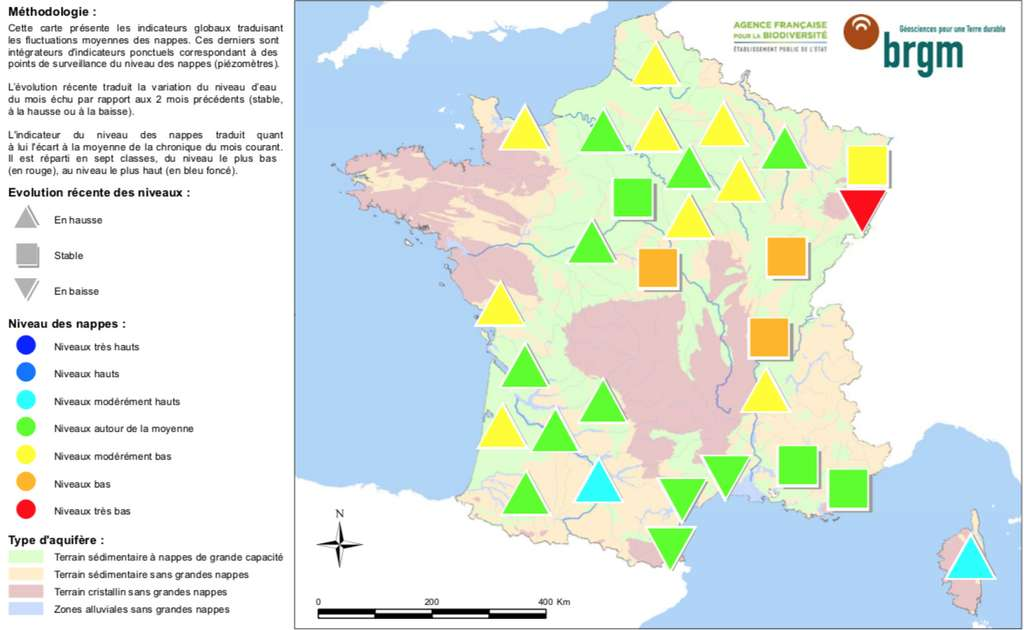 En mars 2019, 50 % des nappes phréatiques françaises affichaient un niveau modérément bas à très bas. Une situation peu satisfaisante avec une recharge hivernale déjà bien entamée, mais encore peu active. © BRGM