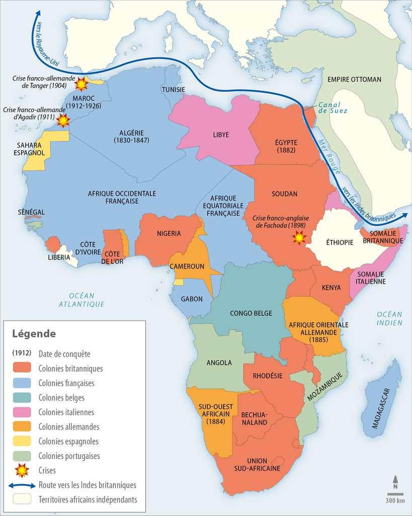 Carte du partage effectif de l'Afrique après la Première Guerre mondiale. © Lelivrescolaire.fr.
