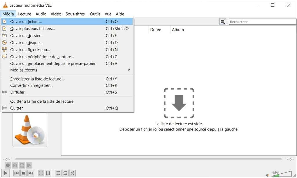 Ouverture d'un fichier depuis le menu «Média». © VLC Media Player