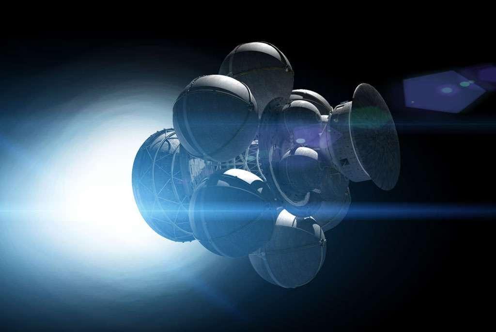 Pendant les années 1970, des membres éclairés de la British Interplanetary Society (BIS) ont étudié le concept d'un vaisseau spatial capable d'atteindre 12 % de la vitesse de la lumière. Le projet Daedalus se basait sur l'utilisation d'explosions thermonucléaires à intervalles réguliers pour atteindre cette performance. Les sursauts radio rapides sont-ils la signature de vaisseaux interstellaires E.T. utilisant cette propulsion ? Ce n'est pour le moment qu'une pure spéculation. © Adrian Mann, Bisbos.com