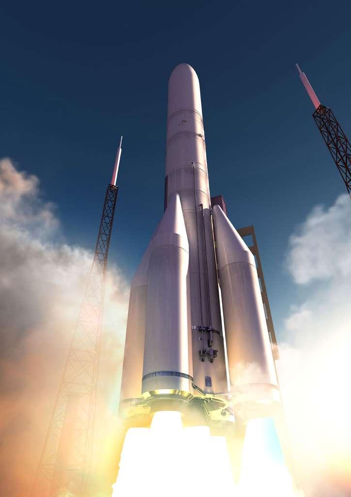 La version à 4 boosters de l'Ariane 6. Capable d'emporter deux satellites, elle se destine aux marchés commerciaux ouverts à la concurrence. © Airbus Safran Launchers 2016