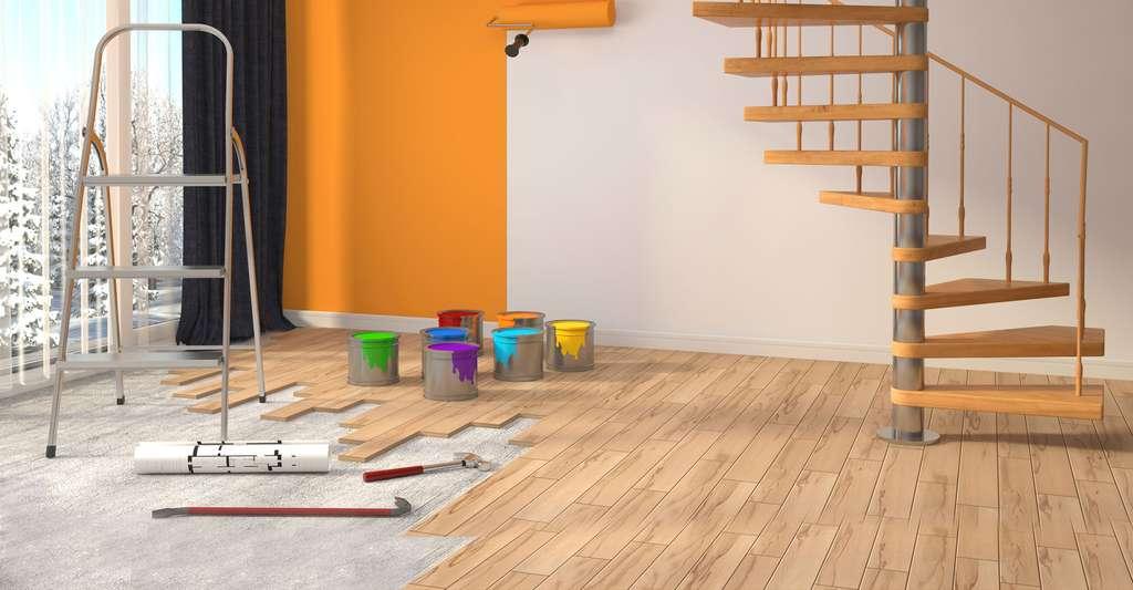 Il existe différents types de supports à peindre et différentes bâches de protection. © Interior Design, Shutterstock
