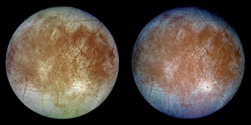 La Lune Europe observée par la sonde Galileo de la Nasa. L'image, à gauche, montre l'aspect approximatif des couleurs naturelles d'Europe. L'image, à droite, est une version composite en fausses couleurs combinant des images violettes, vertes et infrarouges pour améliorer les différences de couleurs dans la croûte de glace du satellite de Jupiter. © Nasa, JPL-Caltech, DLR