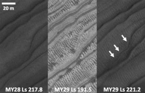 Gros plan sur des ravines en formation sur les dunes du cratère Russel, au cours d'une année martienne. À gauche : les ravines au printemps pendant l'année martienne 28 (MY28). Au milieu : à la fin de l'hiver suivant (MY29), les dunes sont couvertes de glace carbonique. Les jets de gaz sous pression – engendrés par le chauffage de la base de la glace par le Soleil – entraînent les grains de sable sous-jacents. Ils forment des taches sombres sur la glace. À droite : au printemps de l'année suivante, un nouveau chenal a été creusé par cette activité. © Nasa, JPL, University of Arizona