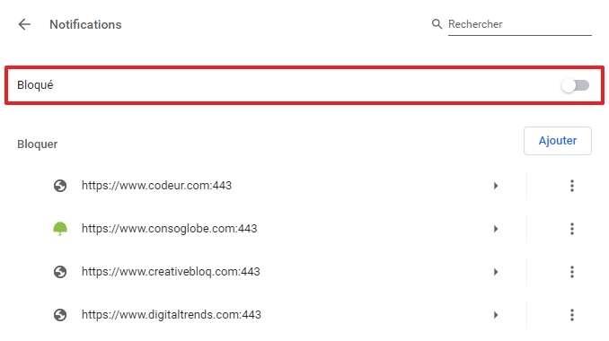 Il y a marqué « Bloqué » quand les notifications sont désactivées. © Google Inc.