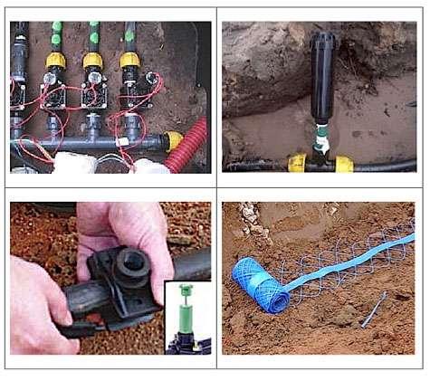 Une fois les canalisations d'eau enterrées, pensez à signaler leur présence à l'aide d'un grillage bleu. © Rain Bird