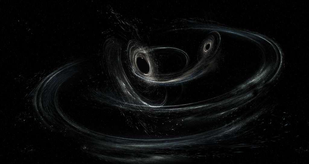 Une vision d'artiste du trou noir binaire à l'origine de GW170104. © LIGO/Caltech/MIT/Sonoma State (Aurore Simonnet)