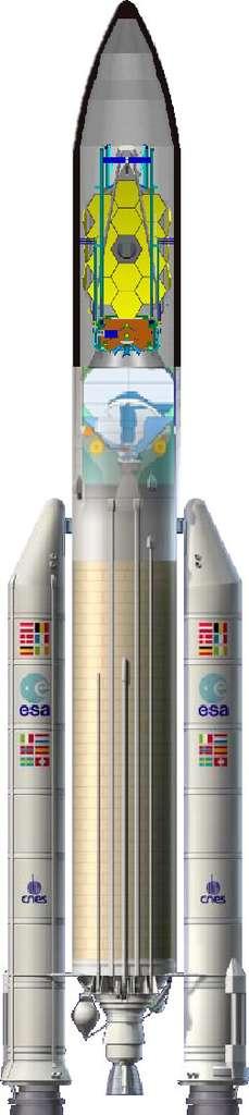 Le télescope James Webb devrait (devait ?) être lancé par une fusée Ariane 5 ECA. On voit ici l'instrument dans la coiffe du lanceur. © Arianespace/Esa/Nasa