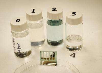 Les cellules photovoltaïques construites sur un substrat fait de nanoparticules de cellulose (bas de l'image) se recyclent facilement. Une immersion dans de l'eau distillée (flacon 0) fait disparaître ce composé en quelques minutes (le flacon 1 contient de l'eau distillée et les restes de cellulose). Les autres composants peuvent alors être immergés dans un mélange d'eau et de chlorobenzène. La couche d'absorbant faite de polymères se dissout (flacon 2), ce qui libère les contacts métalliques (flacon 3, au fond du récipient, près du chiffre 4). © Canek Fuentes-Hernandez, Georgia Institute of Technology